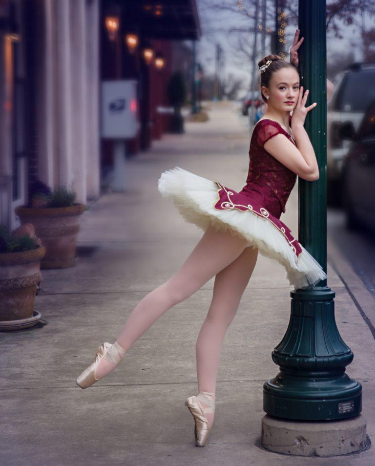 ballerina in burgandy tutu